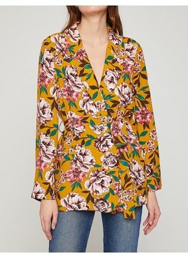 Koton Çiçek Desenli Ceket Sarı